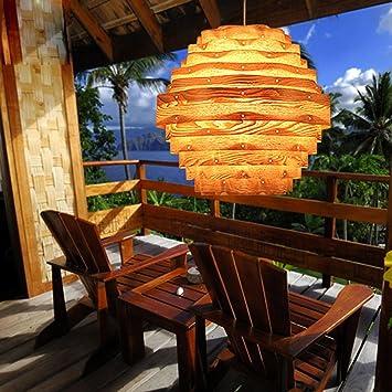 Natürliche Holz-Haut-Deckenleuchte, Südostasiatisches Restaurant ...
