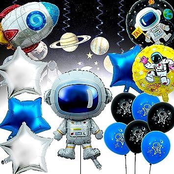 Joeyer 14 Pack Astronaut Foil Balloon Espacial Cohete Globo, Dibujos Animados Globos Decoraciones para Fiestas de Cumpleaños