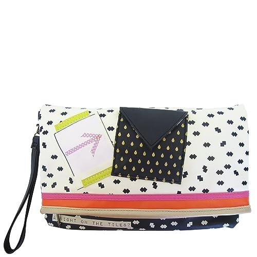 Disaster Design - Cartera de mano de Piel para mujer negro Schwarz Pink Creme: Amazon.es: Zapatos y complementos