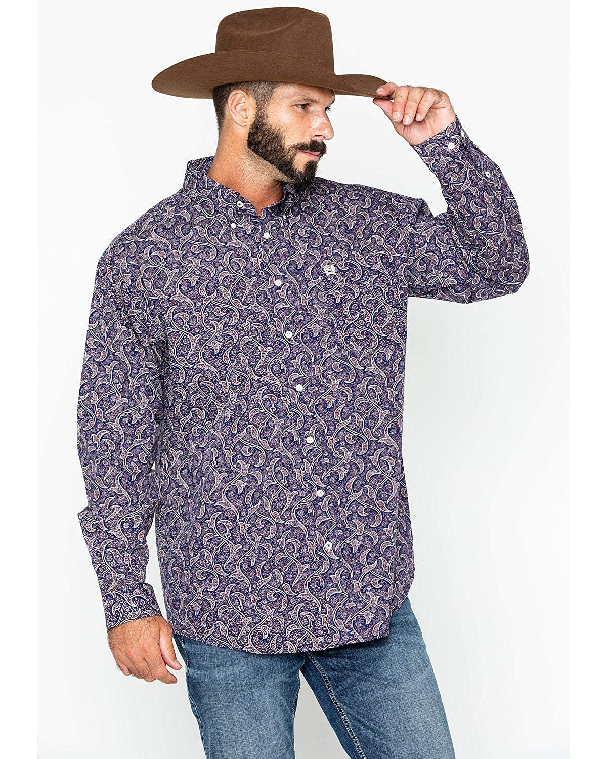ea397352 Cinch Men's Navy Paisley Long Sleeve Button Down Western Shirt:  Amazon.ca: Clothing & Accessories