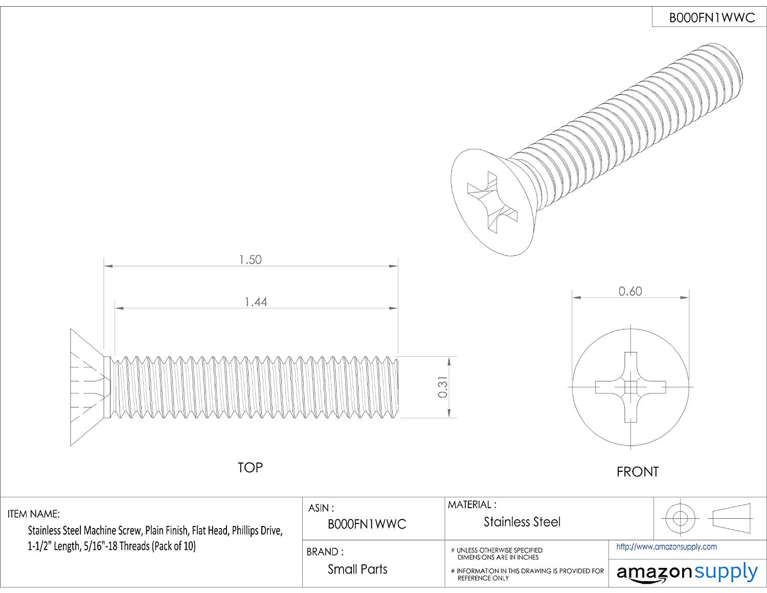 Small Parts B000FN1WWC Pack of 10 Flat Head Plain Finish Stainless Steel Machine Screw 1-1//2 Length 5//16-18 Threads Phillips Drive Pack of 10 1-1//2 Length 5//16-18 Threads