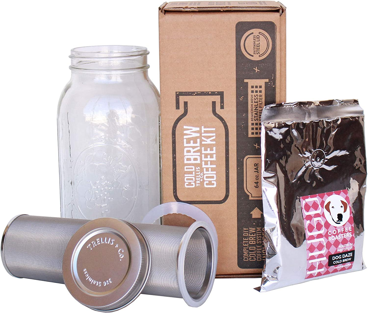 T Co. Cold Brew Coffee Maker Kit with 64 Oz Mason Jar, Stainless Steel Filter Lid, Coffee – 80 Micron Woven Filter, Lid Gaskets, Instructions – Cold Brewed Coffee Iced Tea Kit