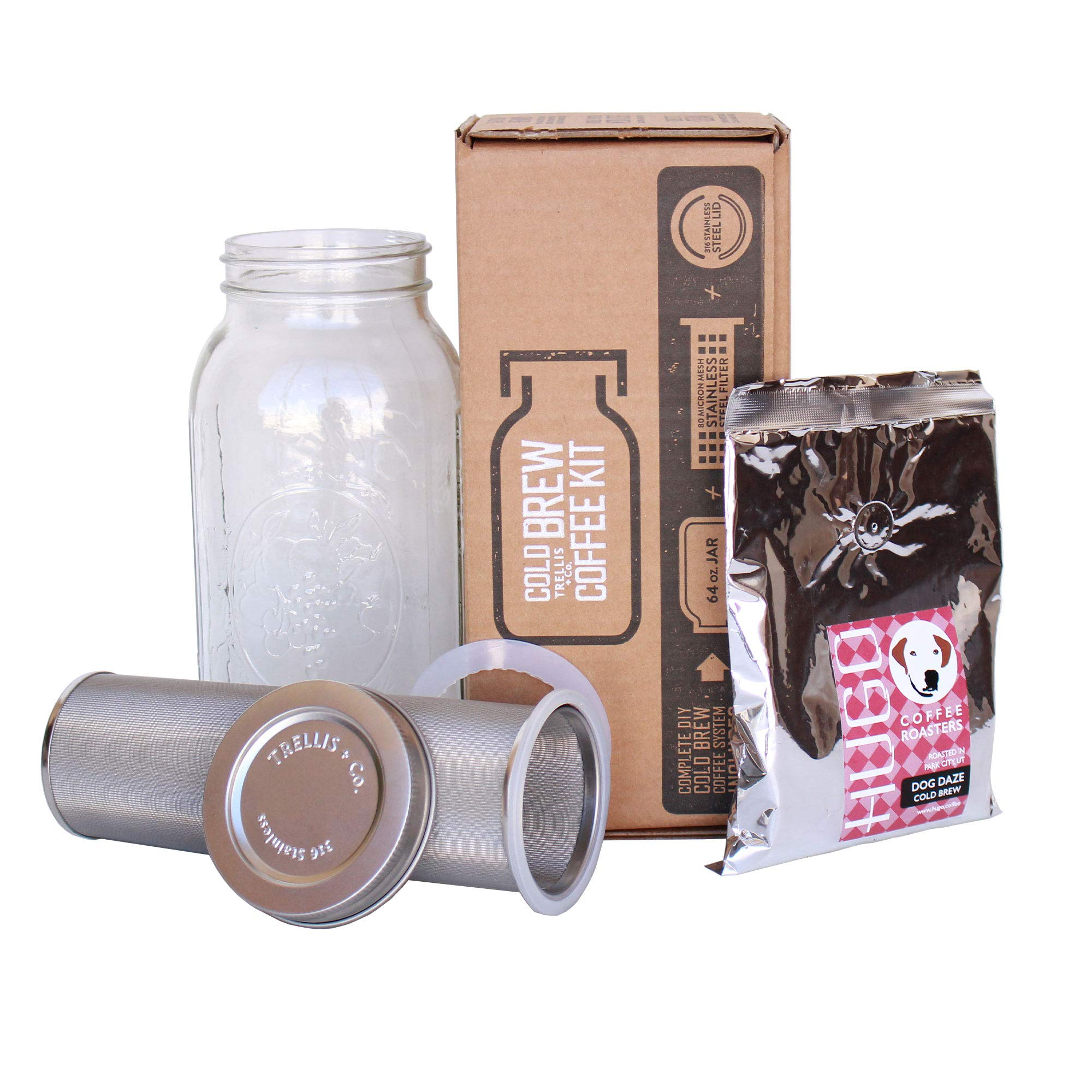 T&Co. Cold Brew Coffee Maker Kit with 64 Oz Mason Jar, Stainless Steel Filter & Lid, Coffee - 80 Micron Woven Filter, Lid & Gaskets, Instructions - Cold Brewed Coffee/Iced Tea Kit by Trellis + Co.