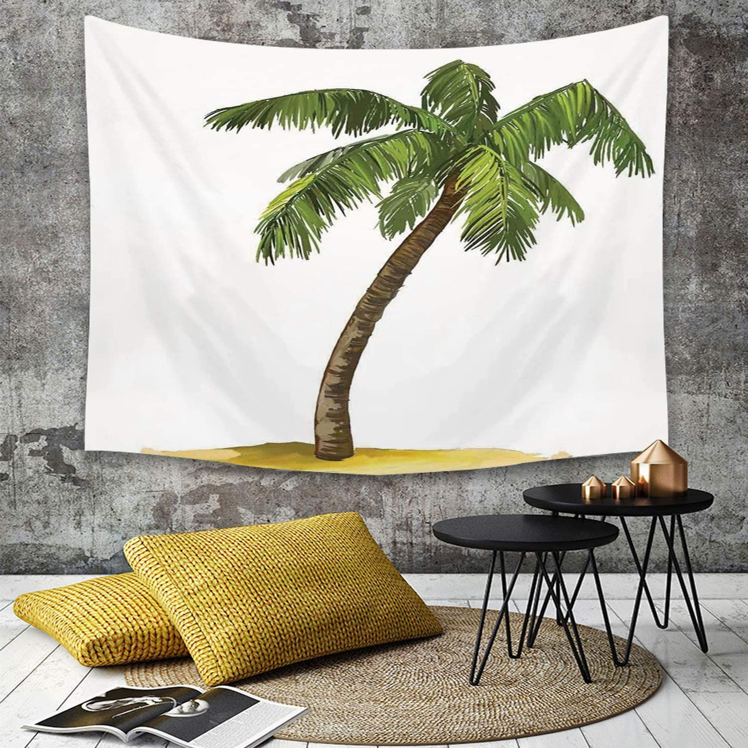 Yaoni Tapestry Wall Hanging Palm Tree Decor Cartoon Palms Image Tropical Plant And Sand Serenity Nature Foliage Print Green Brown Home Decor Art Tapestries For Bedroom Living Room Dorm Apartment Amazon Co Uk Kitchen Home