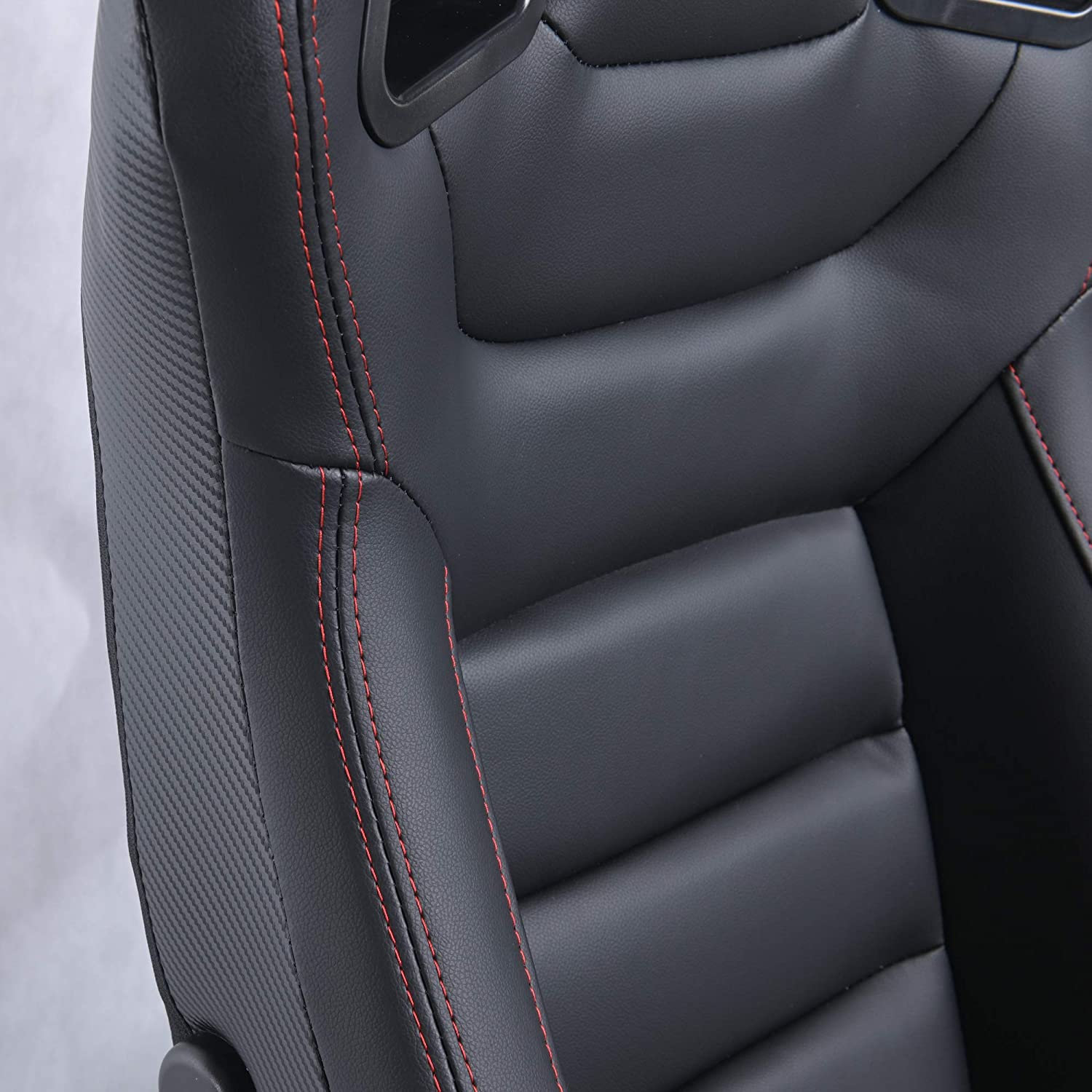 Pair of PVC Leather Racing Bucket Seats with Dual Sliders Racing Seats Black Ship from USA Warehouse