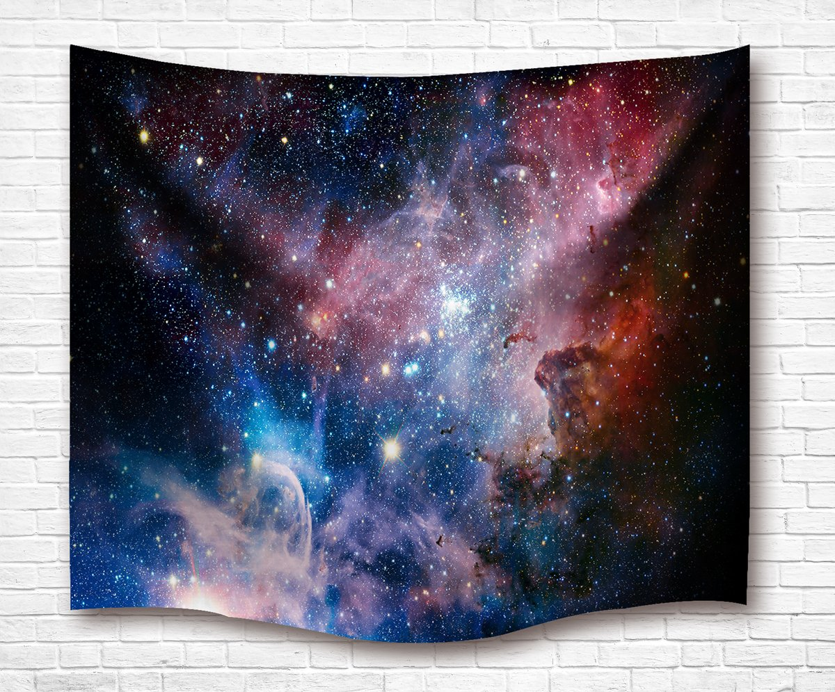 Space Decor Tapestry Large Size, Galaxy Stars in Space Celestial Astronomic Planets in the Universe Milky Way Print, Wall Hanging for Bedroom Living Room Dorm, 80L X 60W Inches, Navy and Purple