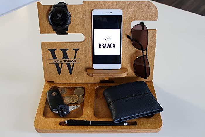 49b71a68bb89 Amazon.com  Fathers Day Gifts Gifts for Men Boyfriend gifts Wood Docking  Station Gift ideas for Men Gifts for Boyfriend mens gifts Mens Valet   Handmade