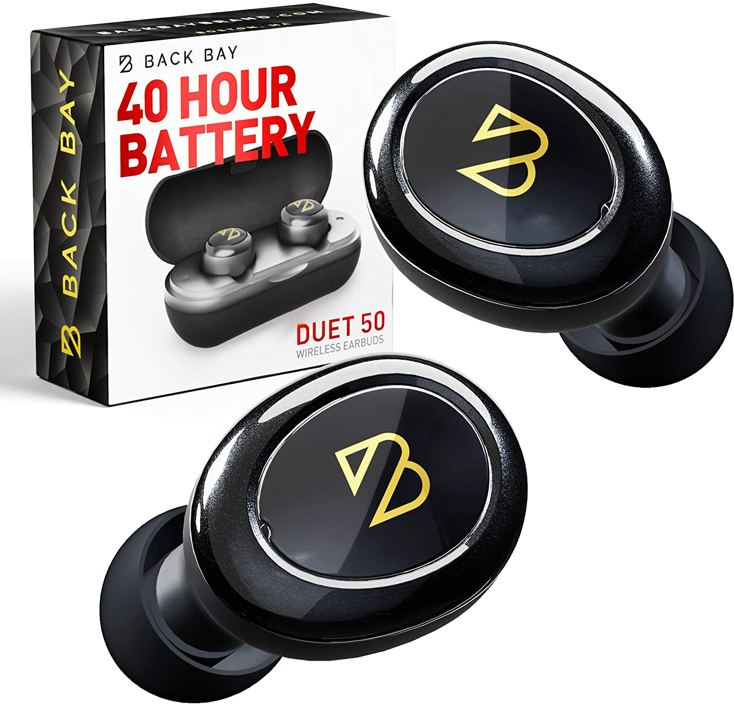 Duet 50 True Wireless Earbuds Bluetooth 5.0 [Featured in Rolling Stone, Forbes] 40 Hour Long Battery Life with Charging Case. Sweatproof Truly Wireless APTX Headphones for Running. TWS Microphone
