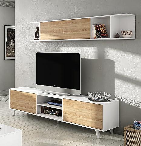 Mueble de salón completo estilo nórdico, módulo TV con estantería color blanco brillo y roble canadian para salón comedor (medida tv: 180cm ancho x ...