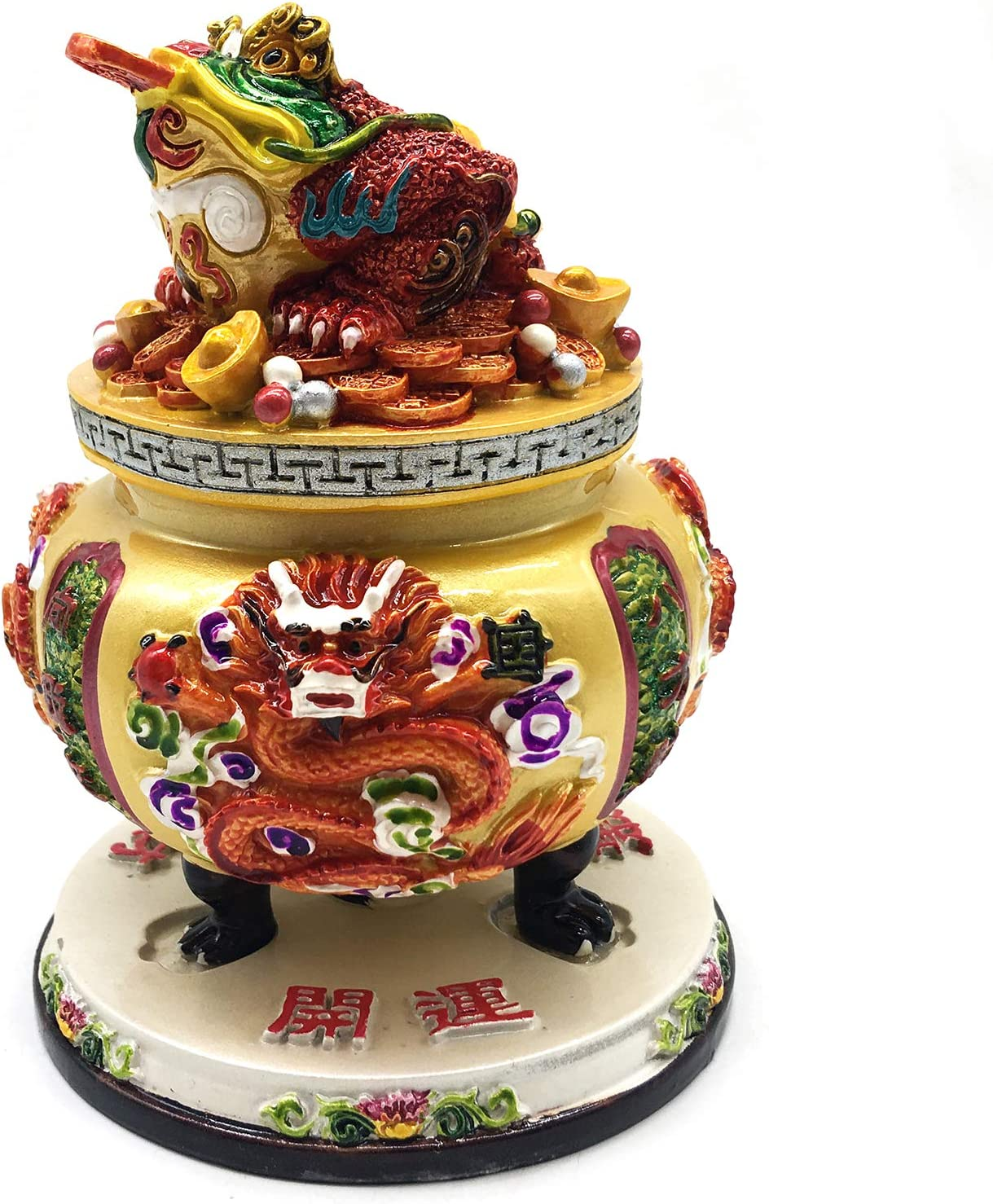 better us Chinese Feng Shui Money Frog (Three Legged Wealth Frog or Money Toad) Treasure Bowl Gold Statue Sculpture Home Office Decoration Tabletop Decor Ornaments for Wealth and Success
