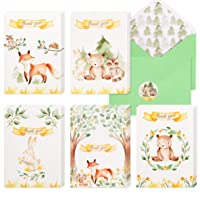 30 Woodland Thank You Cards | Bulk Forest & Mountain Animals Thank You Notes with Matching Green Envelopes & Stickers | Small & Cute Notecards Perfect for Baby Shower and Kids Birthday.