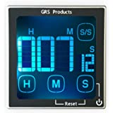 GRS Kitchen Timer For Cooking, Baking, School, Office, Games, Sports - Count Up or Down - Large Clear Display of Hours, Minutes & Seconds - Loud 60+ dB Alarm - Magnetic Back To Place on Refrigerator.