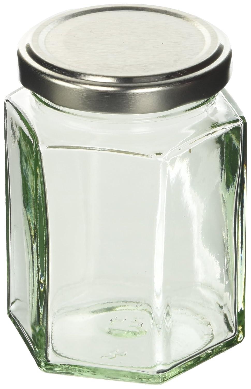 Nutley's - Barattolo da marmellata esagonale con coperchio, 227 g, confezione da 24, colore: Argento Nutley' s