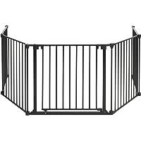 BOMI® Geprüftes Schutzgitter für den Kamin 93-510 cm   mit extrabreiter Tür (84cm)   faltbar   in Schwarz   aus Metall   für Kleinkinder, Babys & Tiere - Milo