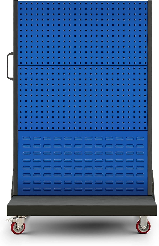 Jan Nowak by Domator24 Werkzeugwand U04 Werkzeuglochwand Werkzeughalter Lochwand Lochplatte Pulverbeschichtung Mobil 157 cm x 97 cm x 61 cm , anthrazit//blau H x B x T