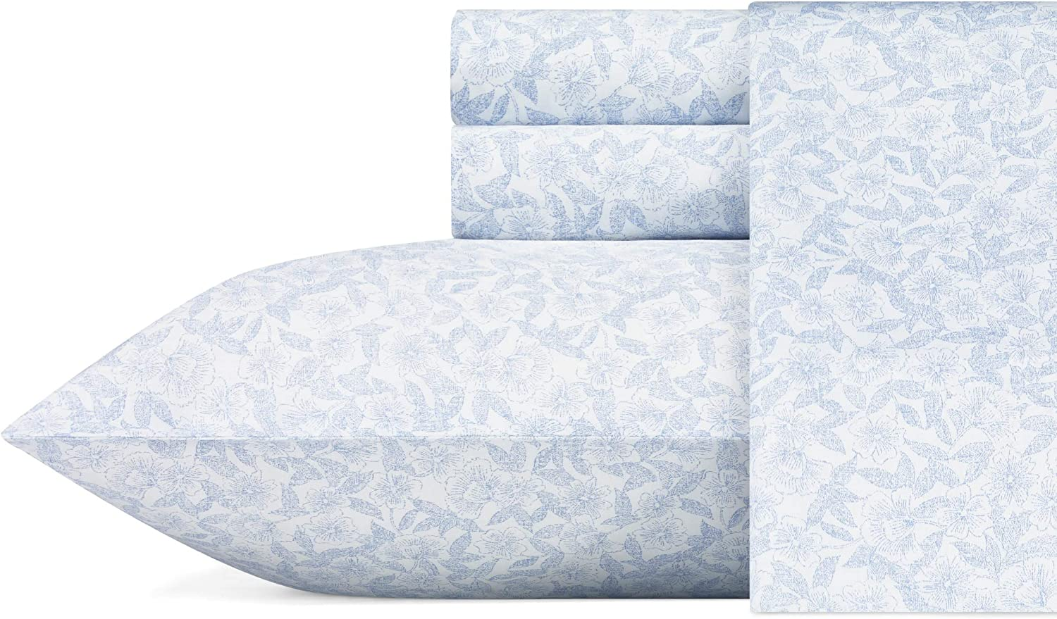 Laura Ashley Home| Sateen Collection| 100% Cotton Sateen Weave Bedding Set, Cozy, Silky-Smooth and Softer After Each Wash, King, Blossoming Blue