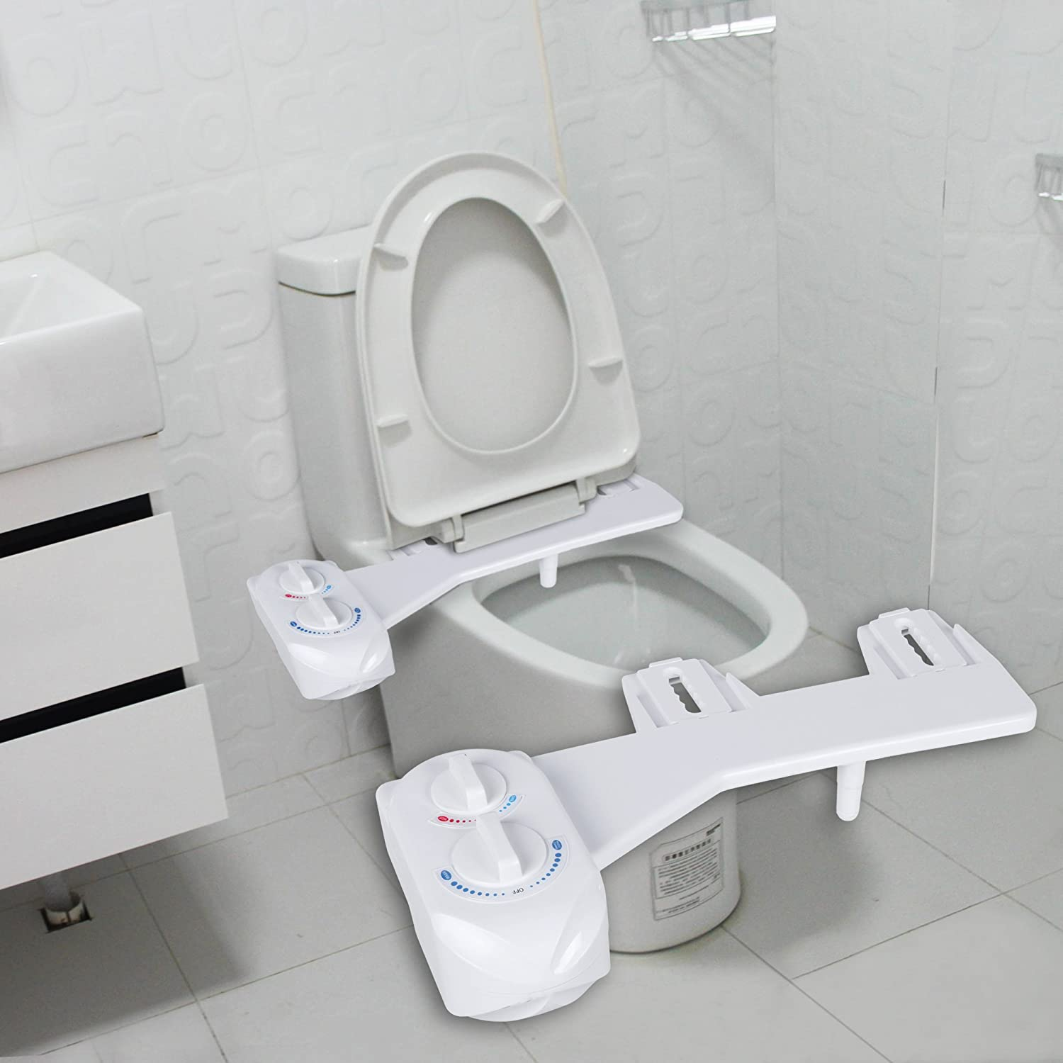 Superbe HOMDOX White Plastic Hot And Cold Water Spray Non Electric Mechanical Self  Clean Bathroom Bidet Toilet Seat Attachment     Amazon.com