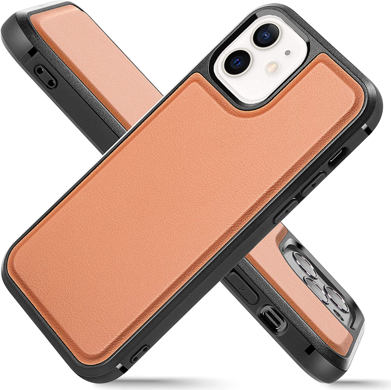 LONLI Basic Series | Shockproof Vegan Leather Case | Edge-to-Edge Protection for iPhone 12 Mini (5.4-inch, Caramel)
