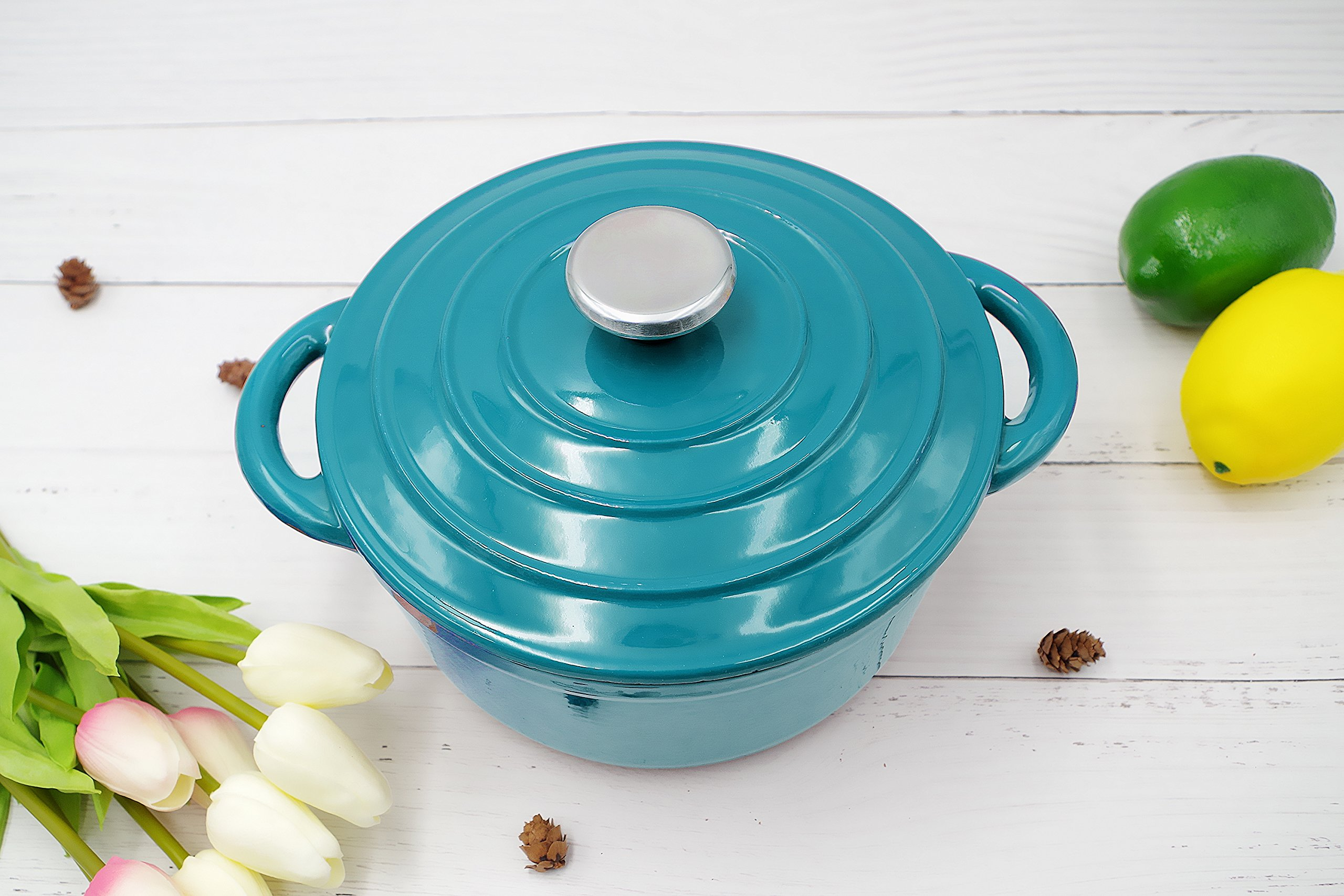 Enameled Cast Iron Dutch Oven - 5-Quart Turquoise Blue Round Ceramic Coated Cookware French Oven with Self Basting Lid by AIDEA by AIDEA (Image #6)