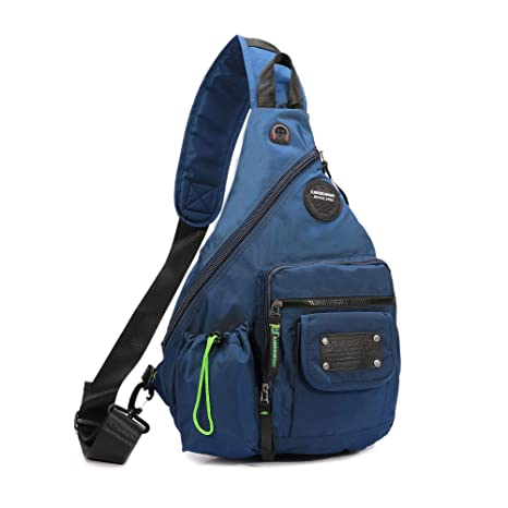 1fea350f2bf0 Amazon.com  DDDH 13.3-Inch Sling Bag Riding Hiking Bag Single Shoulder  Backpack for Men Women(Blue)  Sports   Outdoors