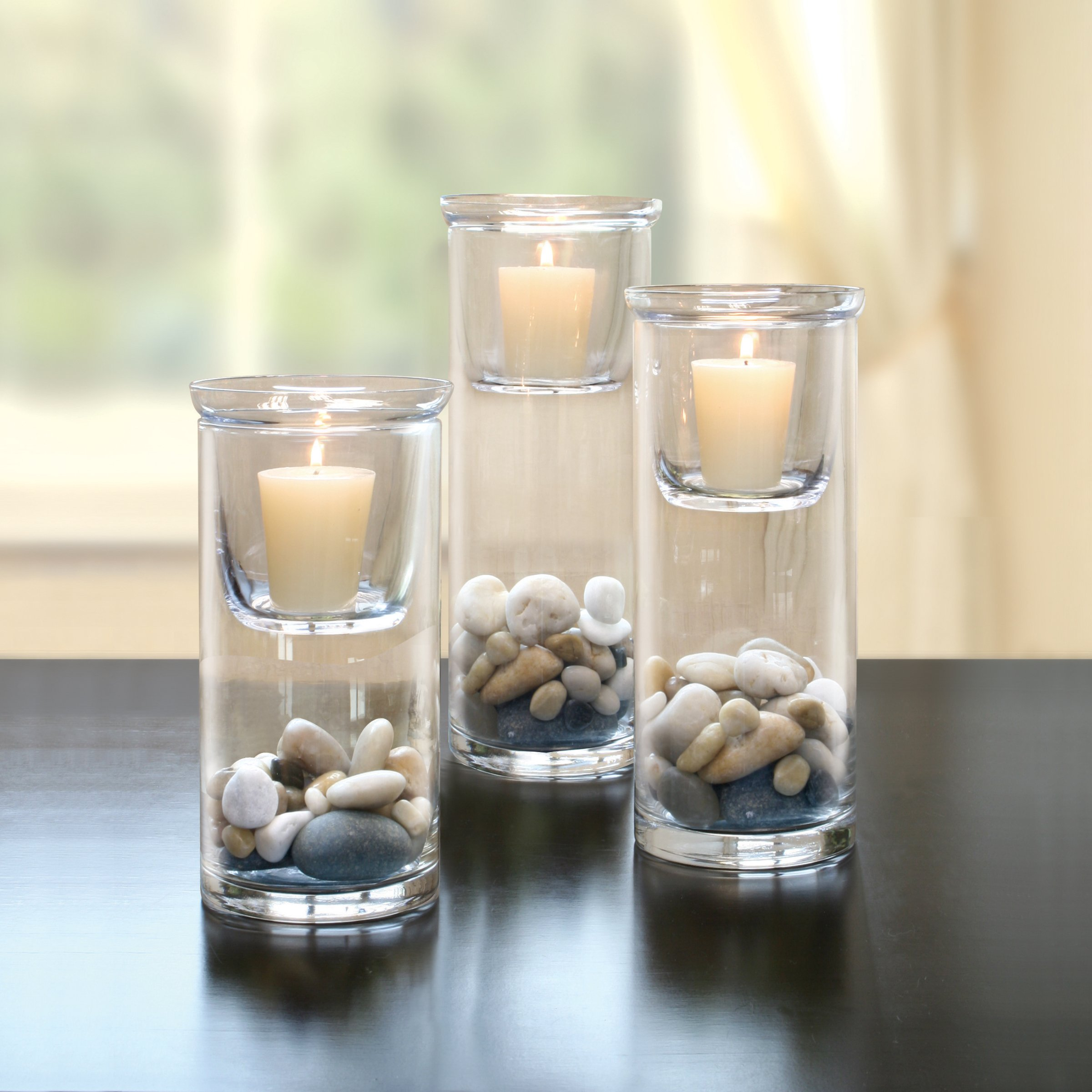 Stonebriar Cylinder Glass Hurricane Set with Removable Votive Candle Holder Inserts, Traditional Home Decor for Dining Room, Living Room, and Bedroom, Decorative Centerpiece by Stonebriar (Image #6)