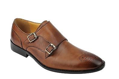 93c4520dff71 Xposed Homme Cuir Véritable Marron Mod Double Moine Sangle Chaussures  Classique Formelle Chaussures - Marron -