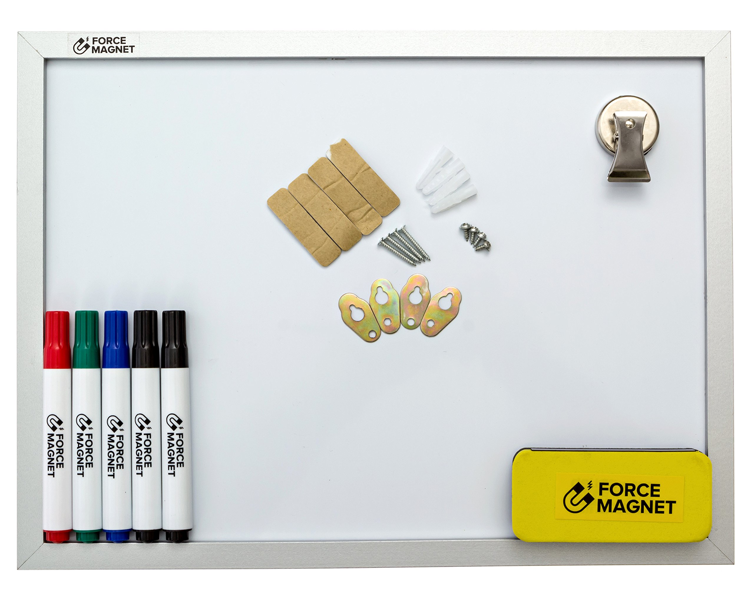 Magnetic 12 x 16'' Dry Erase Whiteboard. Includes 5 Dry Erase Markers, Assorted Colors.Magnetic Eraser Great for Fridge, Locker, and More 10 Seconds Super Easy Mounting System by FORCE MAGNET (Image #7)