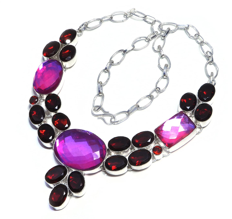 Rainbow Fire Quartz And Garnet Quartz Handmade Jewelry Necklace 16 To 18