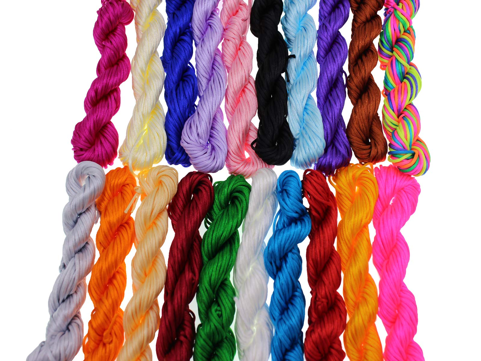 Pamir Tong Full-Colors 20bundles 300 Yards 1.5mm Satin/Rattail Silk Cord for Necklace Bracelet Beading Cord (Type 01) by Pamir Tong