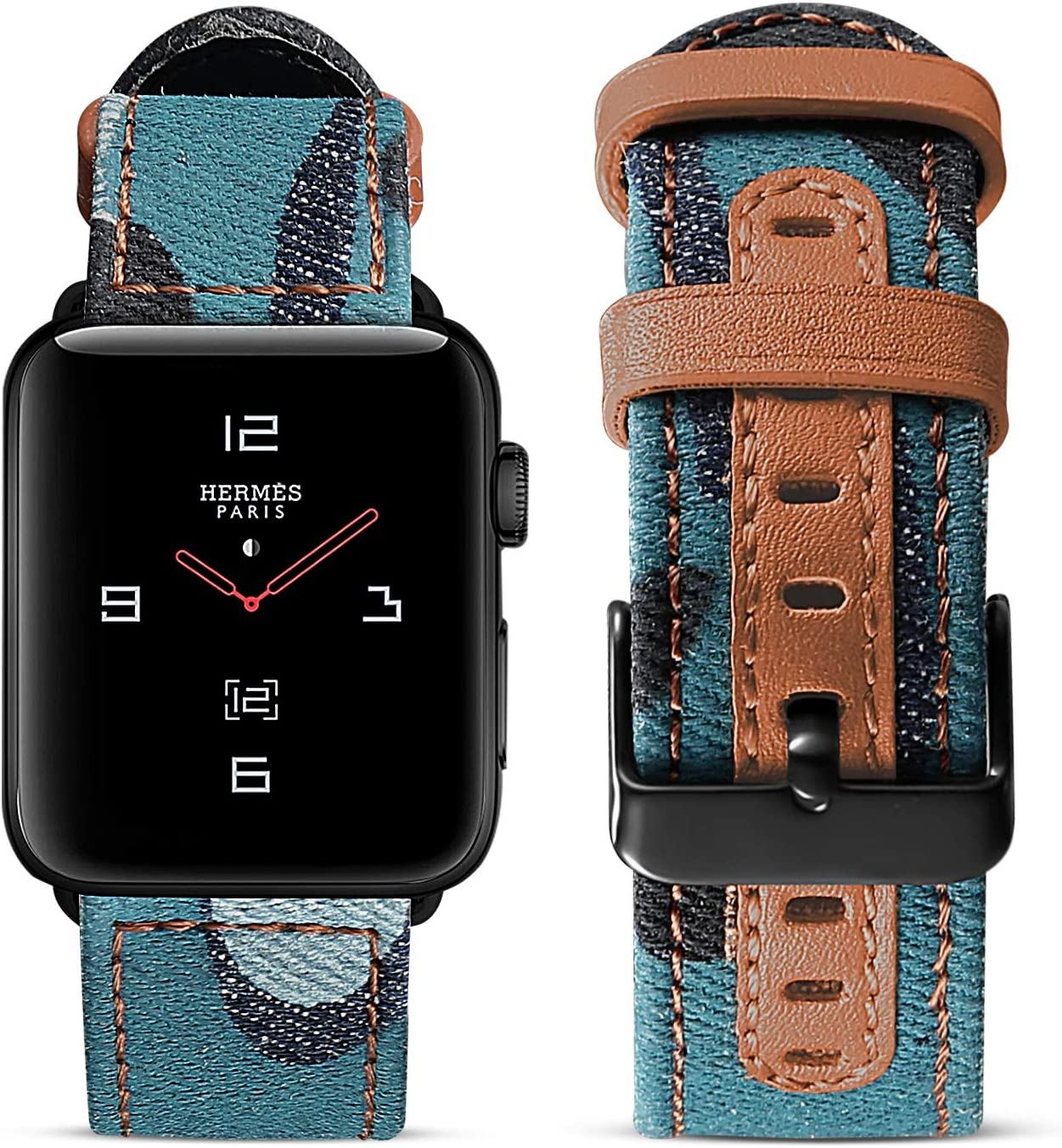 SKYLET Compatible with Apple Watch Bands 40mm 38mm Series 6 5 4 3 2 1 SE Men Women, Soft Canvas Leather Replacement Breathable Wristband with Metal Clasp Black