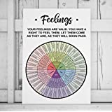 Feelings Wheel Chart Poster with Quote - Mental Health Therapy - Counseling Wall Art Posters - Feeling Wheel Gift for Counsel