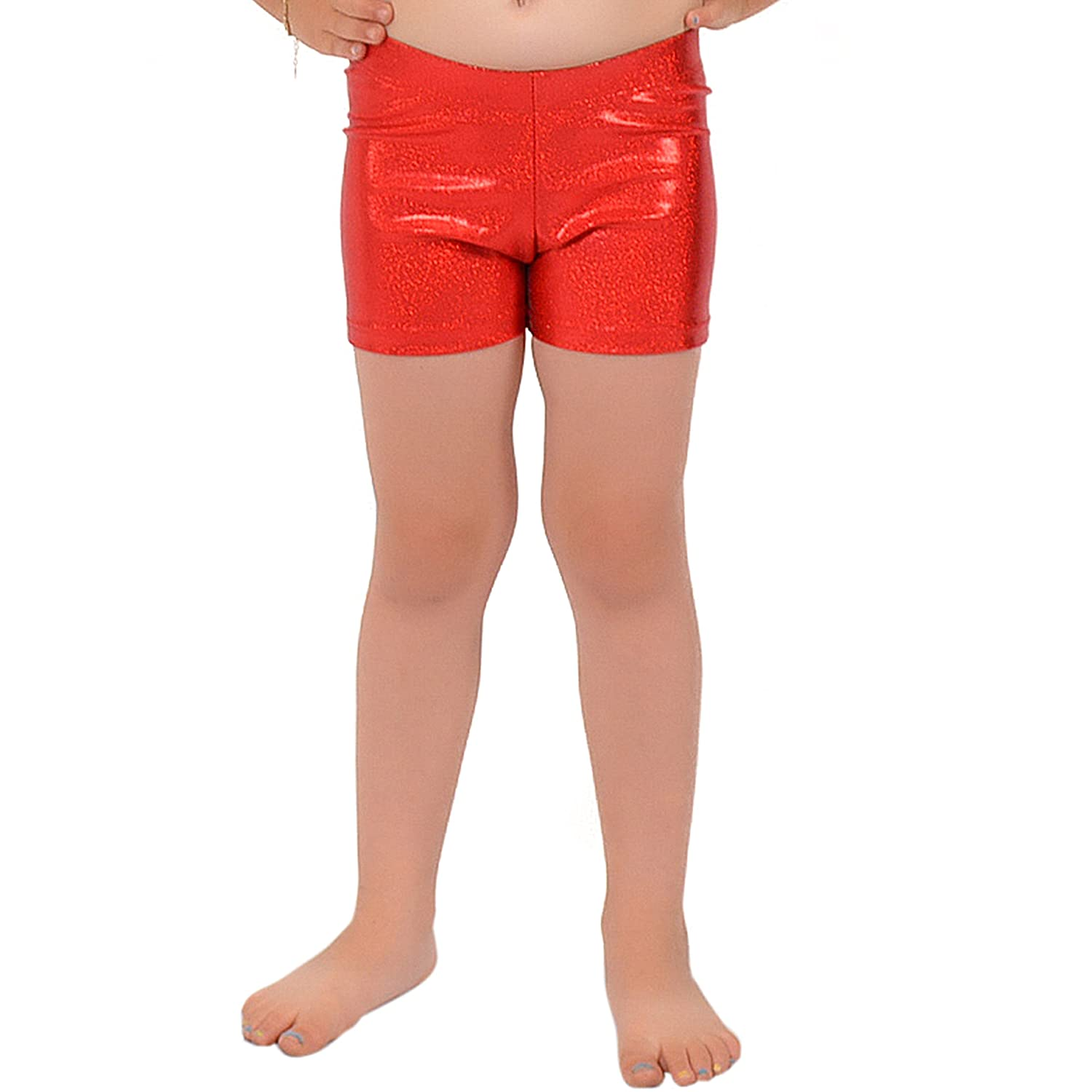 Stretch is Comfort Girl's Dance Cheer Gymnastics Metallic Booty Shorts S3051KIDS-$P