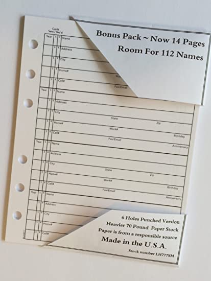 amazon com address book refill 14 pages fits hallmark 4 3 4 x 6