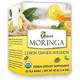 Grenera Moringa Lemon Ginger Infusion/Tea - 20 Tea Bags / Box- USDA Organic Certified, Made with Organic Ingredients