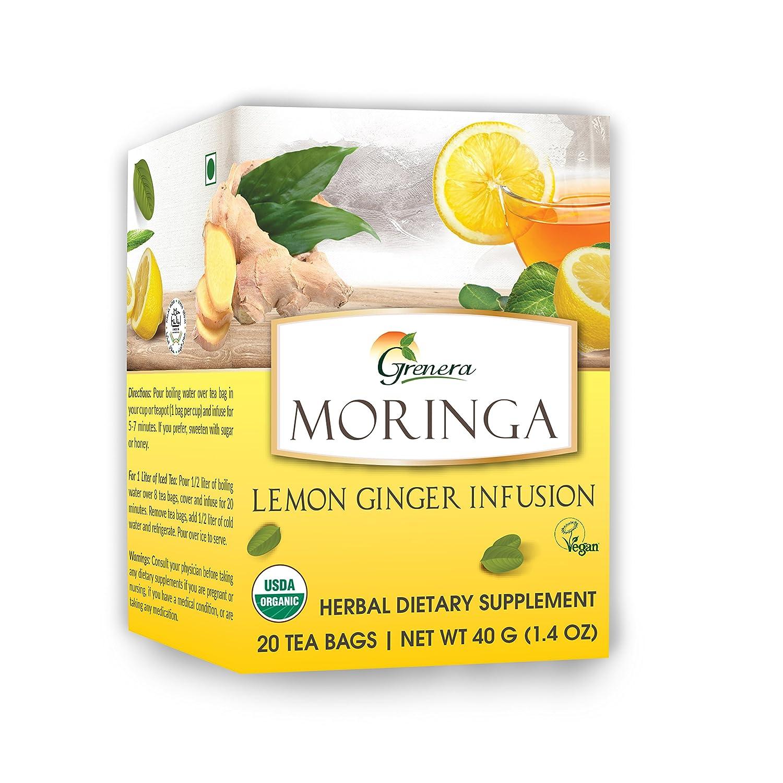 Grenera Moringa Lemon Ginger Infusion/Tea - 20 Tea Bags/Box- USDA Organic  Certified, Made with
