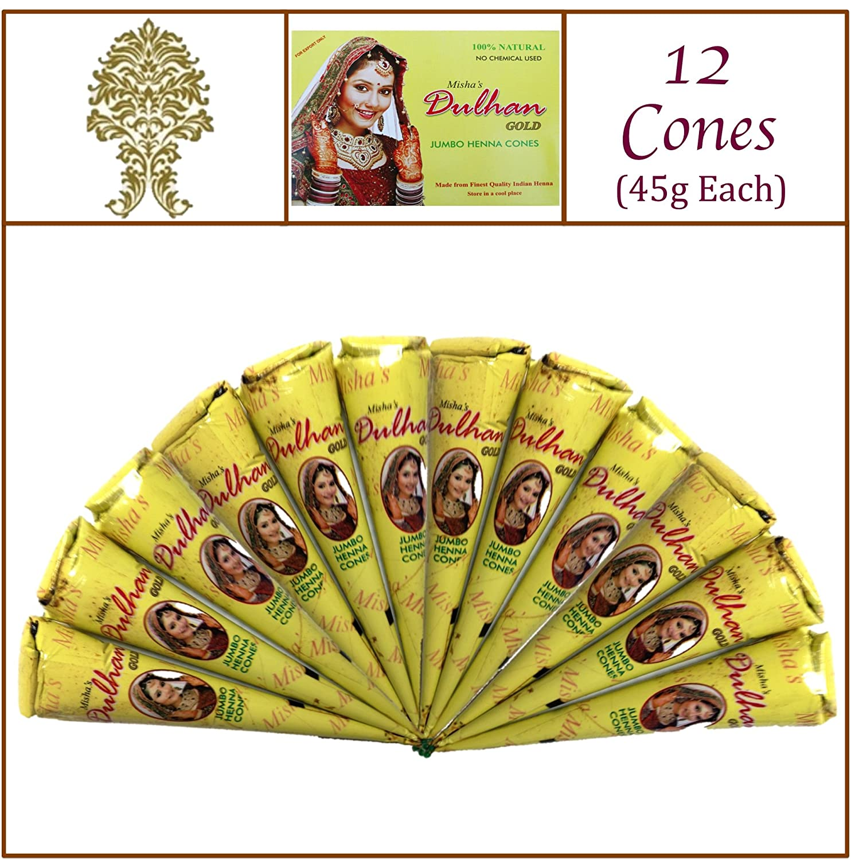 12 Jumbo Cones. Dulhan Gold Henna Paste. No Chemicals No PPD. 45g Ea. Misha