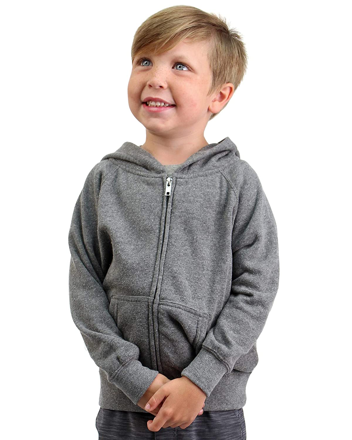 Global Blank Youth Lightweight Zip Up Soft Fleece Hoodie for Boys Girls Toddlers