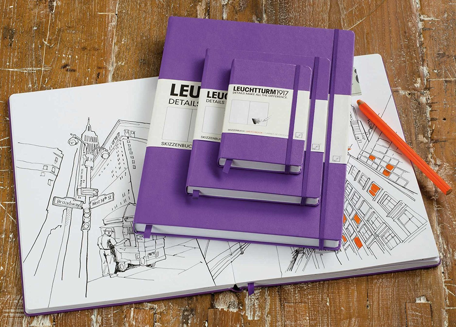 Leuchtturm1917 A4+ Master Hardcover Sketchbook, 8.85 X 12.5 inches, 96 Pages of 180g Brilliant White Plain Paper, Orange (345004) by LEUCHTTURM1917 (Image #4)