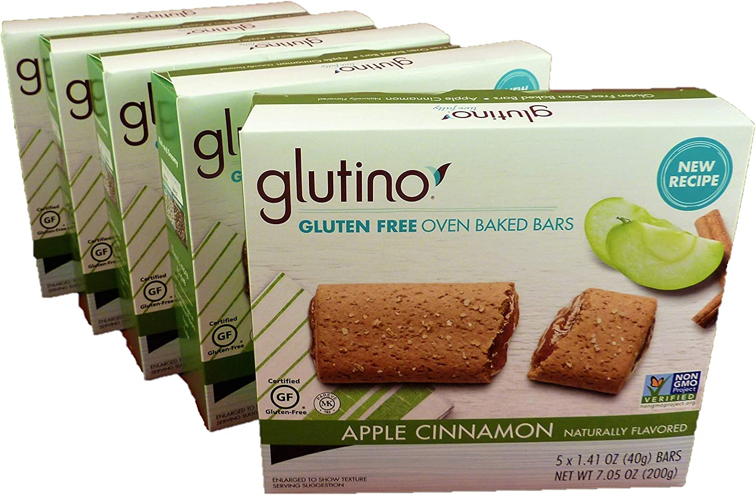 Glutino, Apple & Cinnamon, Gluten Free, Oven Baked Bars 5 Boxes of 5 Count