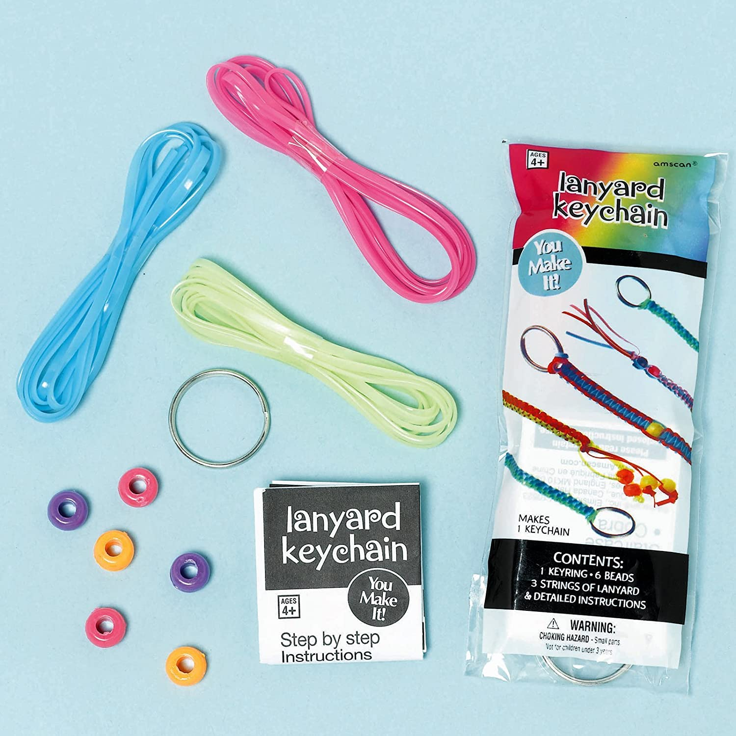 Multicolor Amscan Groovy Neon Doodle Lanyard Kits Birthday Party Favors 12 Pack 4 5//8 x 2