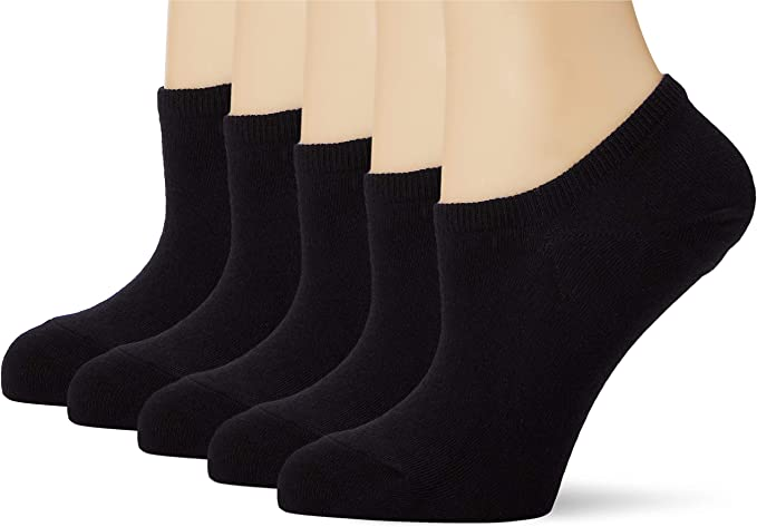 Marca Amazon - MERAKI Calcetines Invisibles de Algodón Mujer, Pack de 5, Negro (Black), 36-38 EU, Label: 3-5 UK: Amazon.es: Ropa y accesorios