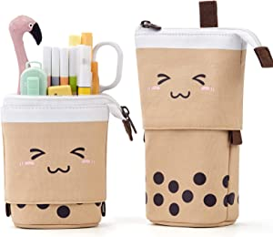 ANGOOBABY Cute Pencil Case Standing Pen Holder Telescopic Makeup Pouch Pop Up Cosmetics Bag with Kawaii Smile Face Stationery case Office Organizer Box for Girls Students Women Adult (Brown)