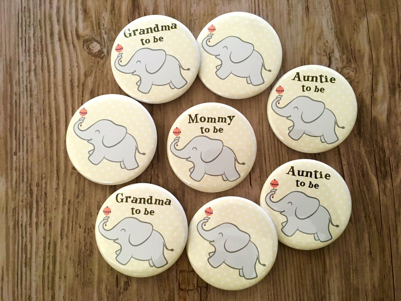 Elephant Baby Shower Pins - Mommy to Be - Grey and Yellow