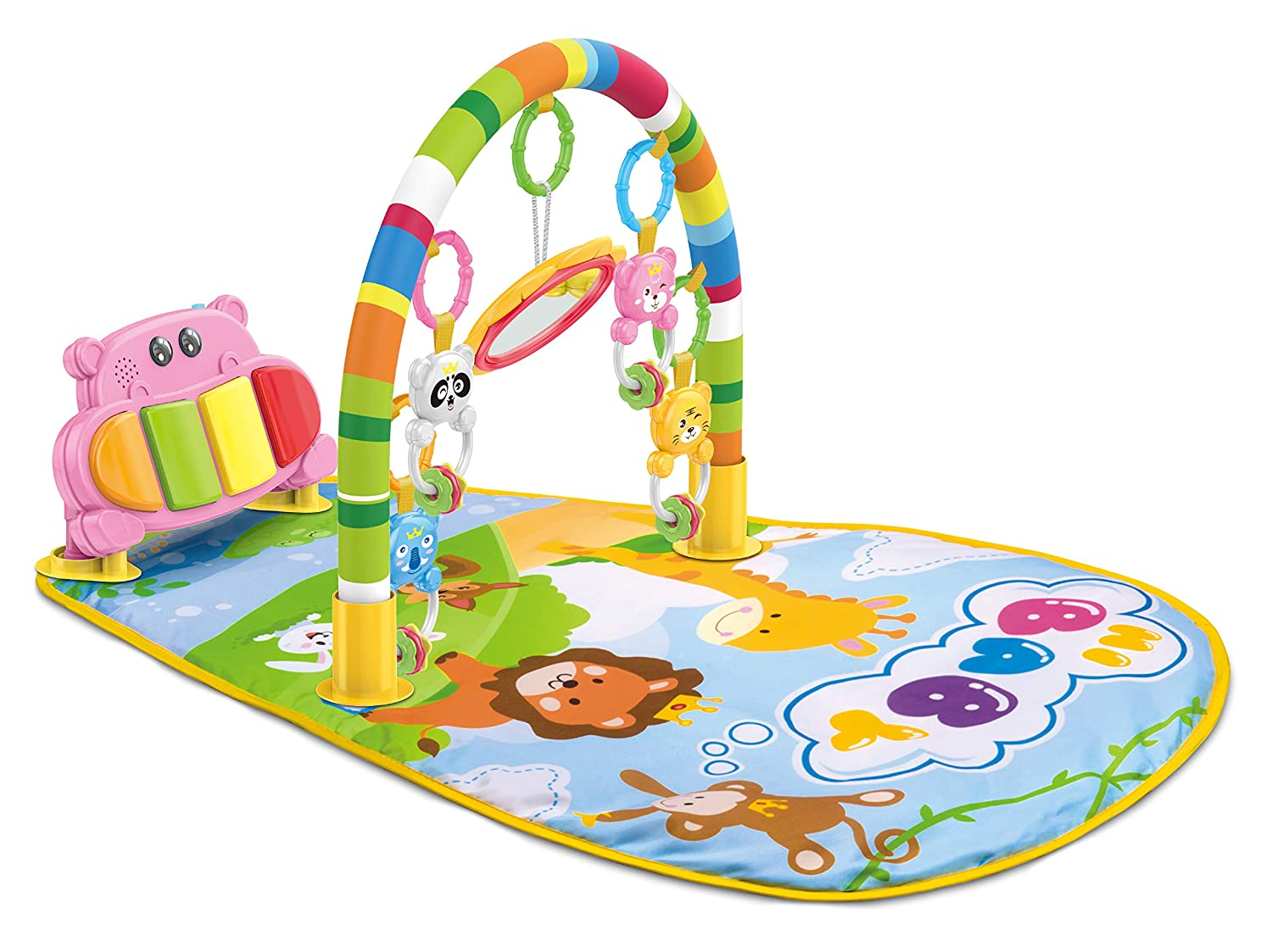 Teeny Fish Baby Piano Play Gym Mat with Activity Centre, Music and Sounds, 0-9 Months - Pink Tenny Fish