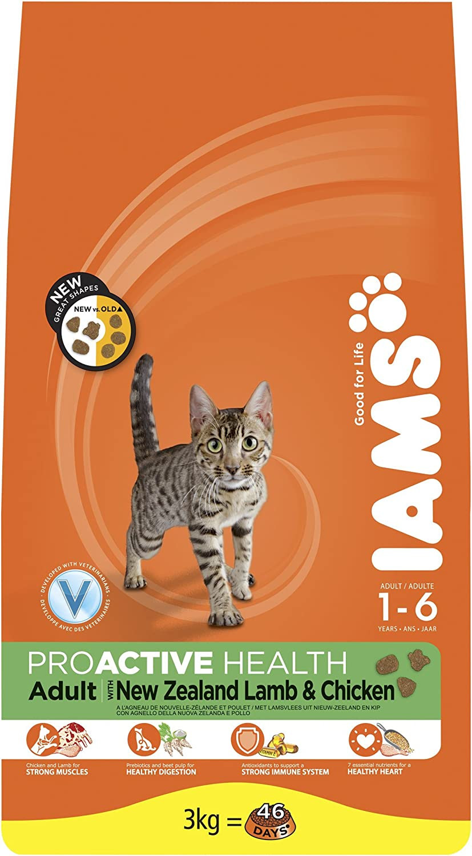 Iams Dry Cat Food Adulto Cordero, 3 kg – Pack de 3