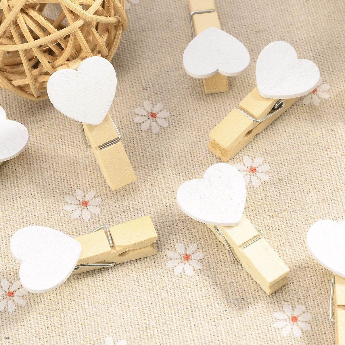 Office & School Supplies 40pcs Love Heart Mini Wooden Photo Paper Clips Pegs For Photos Wedding Decor Craft-white