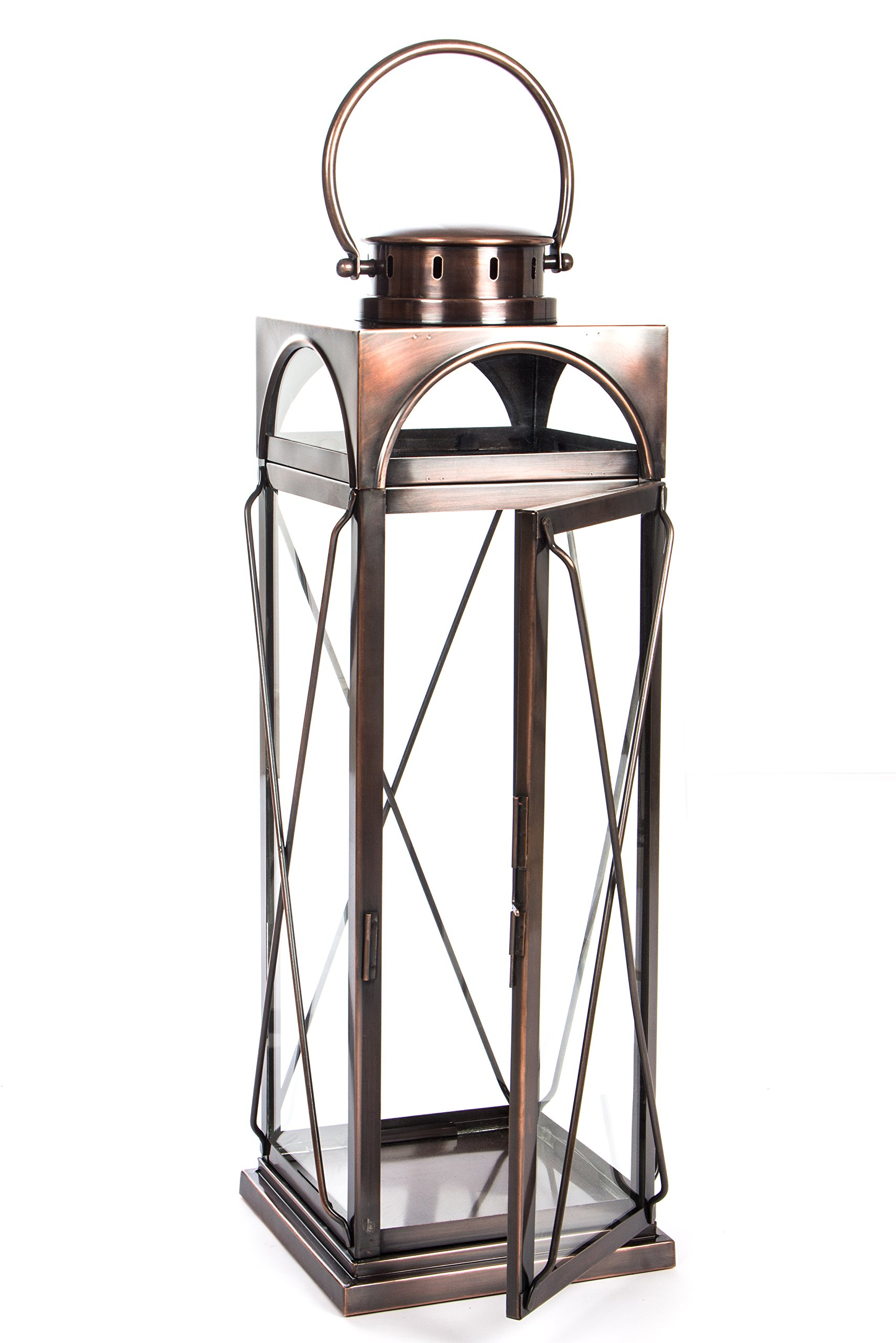 H Potter Decorative Lantern & Candle Holder - Outdoor Indoor Light Centerpiece with Antique Copper Finish & Glass - Stunning Décor for Home, Wedding, Parties - GAR609 (Large)