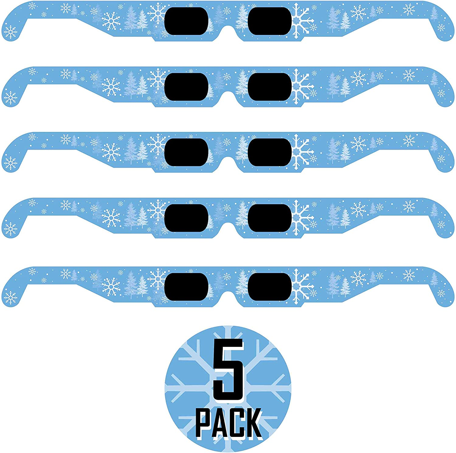 Christmas 3D Glasses Holiday Specs Transform Lights into Magical Snowflake Image 25 Pack