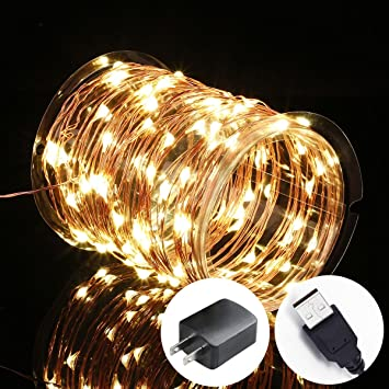 Innotree Fairy Lights Usb Plug In 33ft 100 Led Warm White Waterproof Starry String Lights