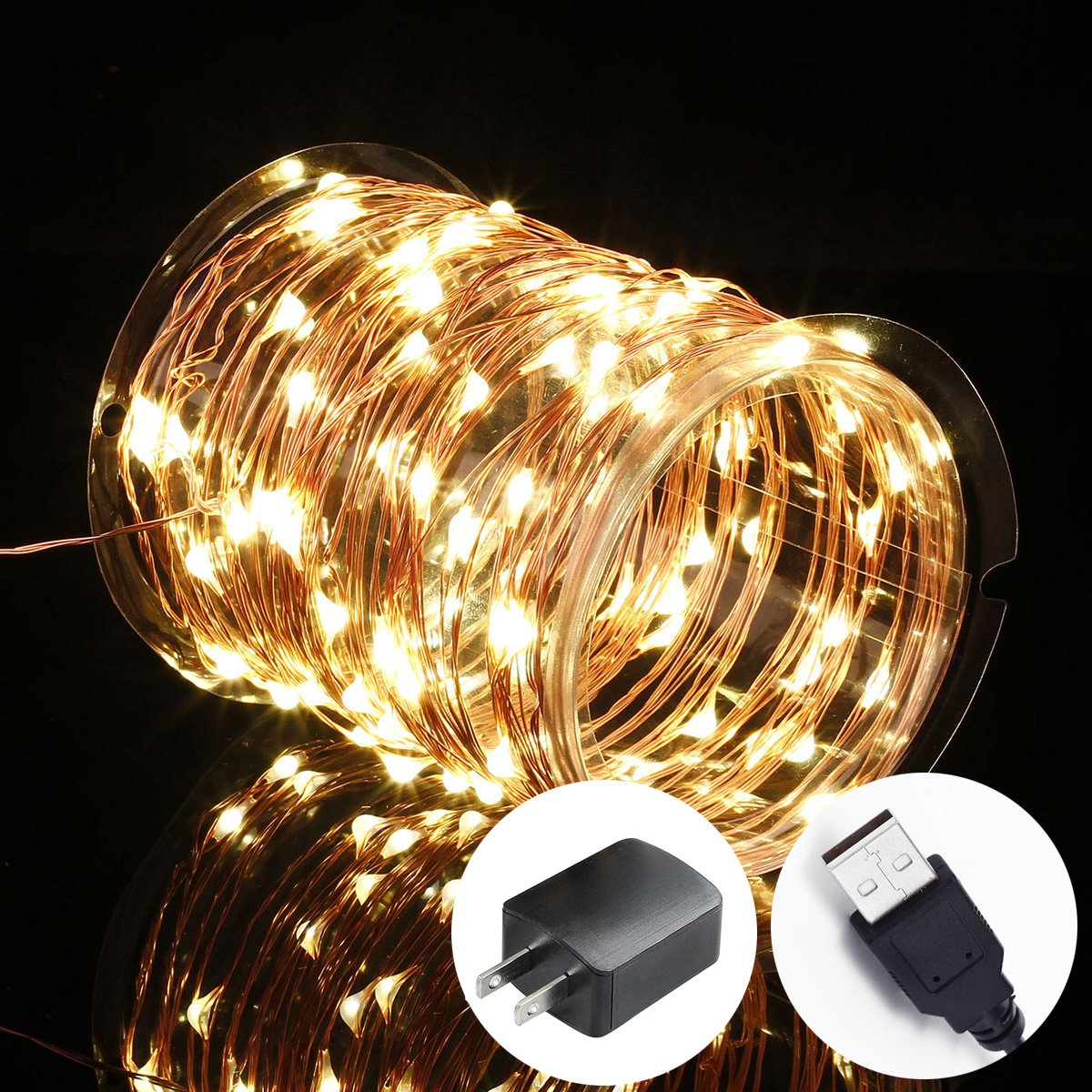 quality design 03cbb 46cca Details about Innotree Fairy Lights USB Plug In, 33Ft 100 LED Warm White  Waterproof Starry